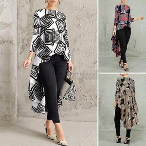 ZANZEA 8-24 Women 3/4 Sleeve High Low Top Shirt Tunic Tee Floral Printed Blouse