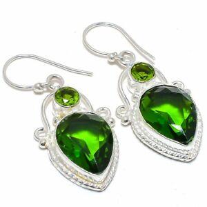 """Burmese Peridot Gemstone 925 Sterling Silver Jewelry Earring 1.8"""" T8626"""