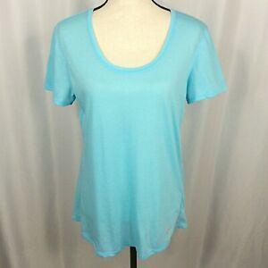 Under Armour Run T-Shirt Womens Large Blue Short Sleeves Scoop Neck Running