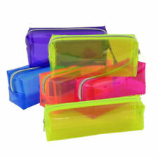 1X S/L Pencil Pen Case Cosmetic Bag Clear Pouch Zipper Toiletry Holder Xmas Gift