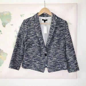 Ann Taylor Size 10 Blazer Tweed Blue Black White Cotton Blend Button NWT $179