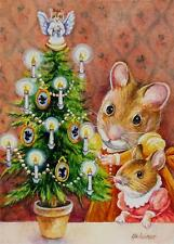 40% OFF SALE! ACEO Limited Edition Print Dickens Christmas Mice 7 Trimming Tree