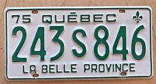 """1975 QUEBEC PASSENGER AUTO LICENSE PLATE """" 243 S 846 """" LA BELLE PROVINCE CANADA"""