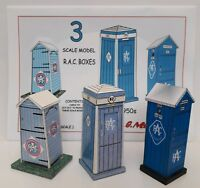 1920s-1950s 3 RAC TELEPHONE BOXES 1/32 54mm SCALE MODELS A5 FULL COLOUR CARD KIT