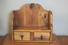 Small Antique Primitive Rustic Wooden Shelf with 2 Drawers & Metal Pulls