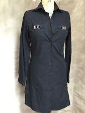 ANNE FONTAINE Black Cotton SHIRTDRESS Dress METAL HARDWARE 1 S 4 FRANCE EFFLUVE