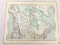 1898 Französisch Map Of Kanada Greenland North America 19th C Antik Original