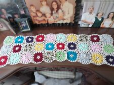 NEW HAND CROCHETED LACE DOILY TABLE RUNNER MULTI COLOR BUBBLE STITCH CENTERPIECE