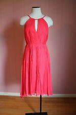 JCrew Selena Dress in Silk Chiffon 2 Strawberry Cocktail NWT