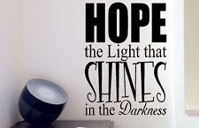 La etiqueta de la pared Esperanza. la luz que brilla en la Oscuridad Pegatina De Vinilo Pared Arte