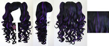 20'' Lolita Wig + 2 Pig Tails Set Black, Purple Mix Blend Cosplay Gothic Sweet