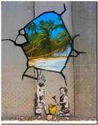 "BANKSY STREET ART CANVAS PRINT Tropical Paradise 16""X 12"" stencil poster"