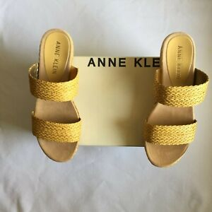 Anne Klein Womens Zala Yellow Wedge Sandals Size 5.5M