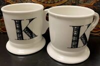 "Two Anthropologie White Coffee Mug Cup Black Letter ""K"" Initial Monogram. ##8"