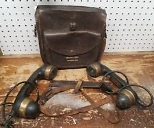 Vintage Military Automatic Electric Co.Telephone Handsets & Leather Carry Case