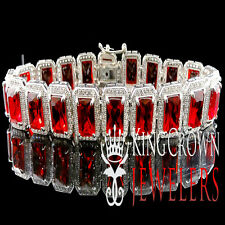 Real Silver White Gold Finish Mens Garnet Ruby Red Birdman Bracelet Lab Diamond