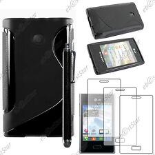 Housse Etui Coque Silicone S-line Noir LG Optimus L3 E400 + Stylet + 3 Films