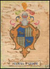ACQUERELLO ORIGINALE 1915 STEMMA ARALDICO PARDINI LUCCA