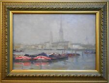 Rouen, Seine. Oil by listed French Impressionist Jules Ribeaucourt circa 1910