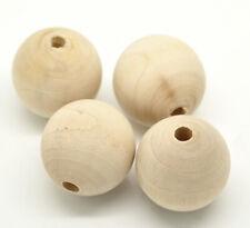 Holzperlen Roh Natur Buche Perlen Kugel Bastel DIY 6/8/10/12/14/16/18 mm Wahlen