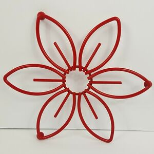 Trivet Red Flower Floral Metal Kitchen Daisy Hot Pad Three Ball Stand