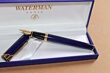 LARGE  WATERMAN L'ETALON FOUNTAIN PEN BLUE LACQUER GT 18 Kt Broad NIB