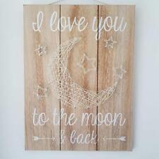 I LOVE YOU to the Moon E Indietro Chic Shabby Stringa art in legno Piastra a parete