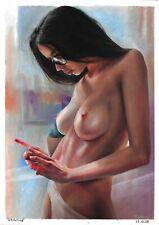 original drawing A3 246KJ art by samovar woman naked pastel signed realism 2020