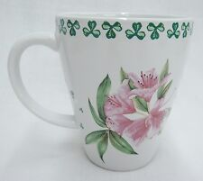 Shamrocks of Erin Porcelain Mug White Green w Pink Flowers Irish Dinnerware
