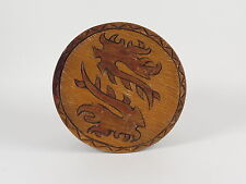 Carved wooden plate dragons monsters lizards serpents vintage Panama textured