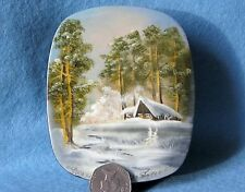 Russian Hand Painted trinket LACQUER Box FEDOSKINO GUSACK signed Papier Mache