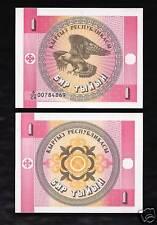 World Paper Money - KYRGYZSTAN 1 Tyiyn @ Crisp UNC