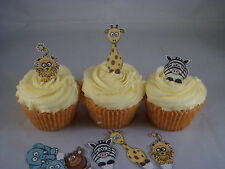 12 PRE CUT Jungle Animals Fairy Cup Cake Toppers Edible Wafer Paper