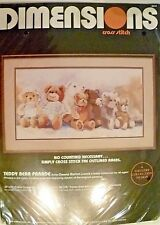"NEW-Vtg Dimensions ""Teddy Bear Parade"" Cross Stitch Kit - 12""x22"" #3613"
