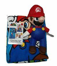 Super Mario Bros Bathroom 2 Piece Set Bath Towel and Scrubby Nintendo