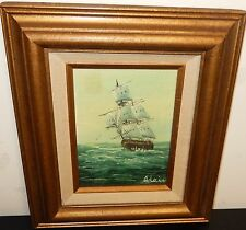 ADAIR OIL ON BOARD SAILING SHIP AT SEA PAINTING