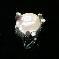 Natural Baroque Pearl 925 Sterling Silver Ring Size 9/RR17-1304
