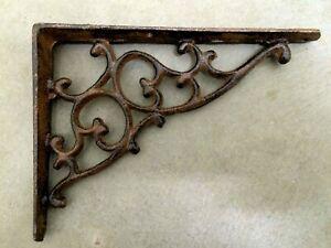 "4 pc ORNAMENTAL BRACKET vintage look antique brown patina finish iron brace 7"""