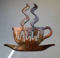 "Ahh! Coffee Cup Metal Wall Art Decor 7 3/4"" tall"