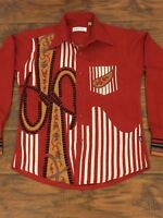 Hugo Boss Men's Shirt Tweed Button Front Long Sleeve Vintage Size  Medium