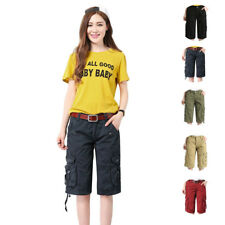 Women Loose Fit Cargo Shorts Classic Twill Multi Pockets Casual Straight Pants