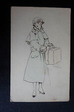 CARTE POSTALE ART NOUVEAU VINTAGE DESSIN ORIGINAL MODE FEMININE UNIQUE 1916