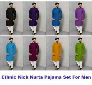 Mens Kurta Pajama Cotton Indian Ethnic Kick Traditional Casual Party Wear kurta