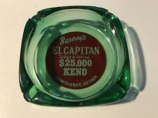 Barney's El Capitan Lodge Casino Green Glass Keno Ashtray Hawthorne Nevada