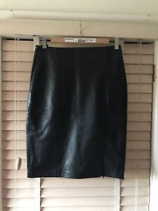 ARM'S Real Leather Skirt Black Size 10 With Polyester/Satin Lining