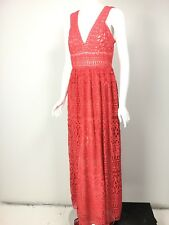 NICOLE MILLER Coral Pink Embroidered Mesh Lace Dress Gown sz 10