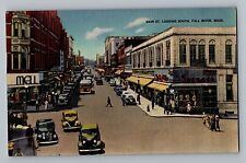Fall River Massachusetts Ma Main Street Looking South Cars Postcard 1930-45