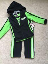TUFF GUYS Boys Zip Up Hoodie Pants 3 Piece Set Size 12 Months Green/Black