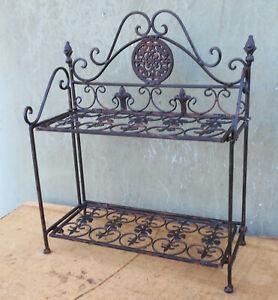 Étagère en Métal, Fer, Étagère En Antik-Shabby-Style, Marron Antique, 40x48x18cm