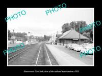 OLD LARGE HISTORIC PHOTO OF GOUVERNEUR NEW YORK RAILROAD DEPOT STATION c1955